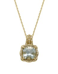 Lord And Taylor 14Kt. Yellow Gold Green Amethyst Diamond Pendant Necklace Green Amethyst Gold