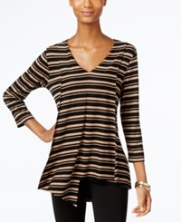 Cable And Gauge Striped Asymmetrical Hem Top Tan Black