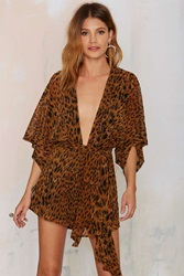 Nasty Gal Square Up Plunging Romper Leopard