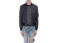 Saint Laurent Men's Flight Crop Bomber Jacket Black