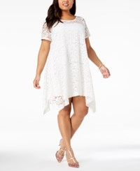 Robbie Bee Plus Size Lace Trapeze Dress White