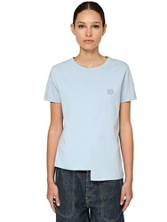 Loewe Asymmetric Cotton Jersey T Shirt Light Blue
