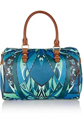 Emilio Pucci Leather Trimmed Printed Vinyl Tote