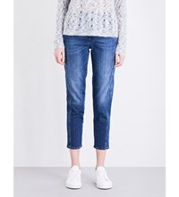 Closed Cropped High Rise Broken Stitch Jeans Easy Mid Blue