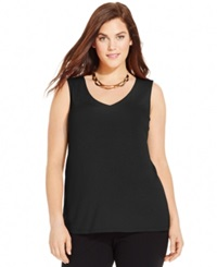 Inc International Concepts Plus Size V Neck Tank Top Deep Black