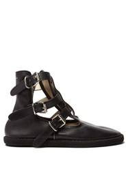 Mm6 Maison Margiela Buckled Leather Ankle Boots Black
