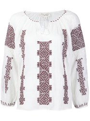 Nili Lotan Aztec Embroidery Blouse White