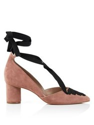 Kurt Geiger London Mayfair Suede Block Heeled Lace Up Shoes Pink