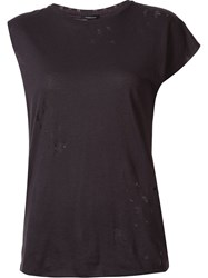 R 13 R13 Asymmetric Distressed T Shirt Black