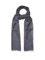 Lanvin Checked Linen Blend Scarf Blue Multi