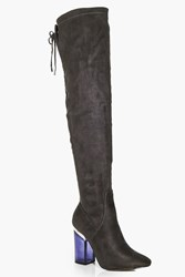 Boohoo Clear Over The Knee Boot Grey