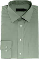 Double Two Men's King Size Long Sleeve Non Iron Poplin Shirt Sage