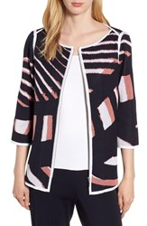 Ming Wang Zip Front Knit Jacket Navy Daylily White