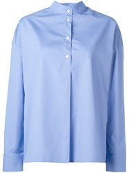 Each X Other Button Down Collar Blouse Blue