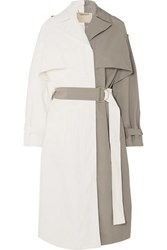 Givenchy Two Tone Linen And Cotton Blend Trench Coat White