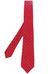 Kiton Floral Print Tie Red