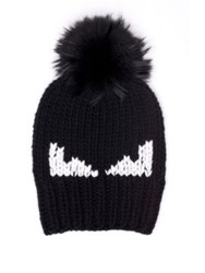 Fendi Monster Fur Pom Wool Hat Grey Black Blue