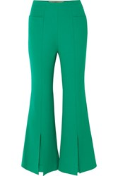 Roland Mouret Danesfield Cropped Stretch Crepe Flared Pants Green