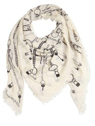 Alexander Mcqueen Printed Chain Burnst Pashmina Scarf Ivory