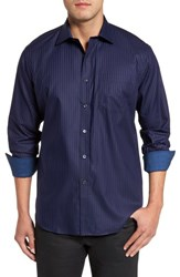 Bugatchi Men's Classic Fit Stripe Sport Shirt Night Blue