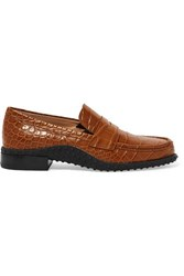 Tod's Croc Effect Leather Loafers Tan