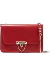 Valentino Demilune Small Studded Leather Shoulder Bag Red