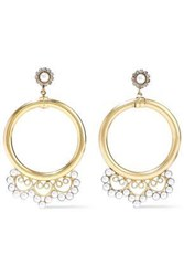 Elizabeth Cole Gold Tone Faux Pearl And Crystal Hoop Earrings White