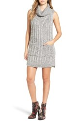 Astr The Label Cowl Neck Sweater Dress Gray