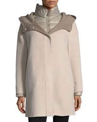 Fleurette Double Face Hooded Wool Coat W Ultra Light Down Jacket Stone Taupe