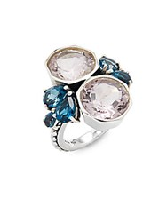 Stephen Dweck Bumblebee London Blue Topaz And Amethyst Ring Silver