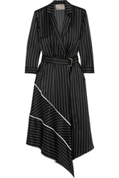 Jason Wu Asymmetric Striped Silk Charmeuse Midi Dress Black