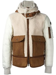 Moncler Hooeded Quilted Jacket Brown