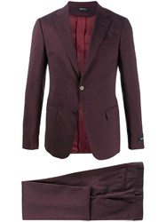 Z Zegna Single Breasted Two Piece Suit Red