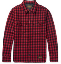 Neighborhood Slim Fit Buffalo Checked Wool Blend Overshirt Red