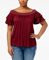 American Rag Trendy Plus Size Off The Shoulder Peasant Top Only At Macy's Zinfandel
