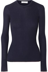 Gabriela Hearst Browning Ribbed Cashmere And Silk Blend Sweater Navy