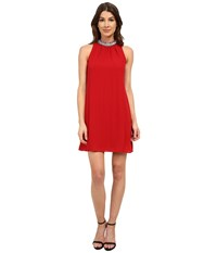 Laundry By Shelli Segal Beaded Neck Sleeveless Georgette Cocktail Dress Cherry Women's Dress Red