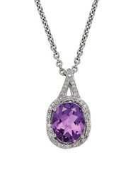 Lord And Taylor Amethyst Diamond Sterling Silver And 14K White Gold Pendant Necklace Purple