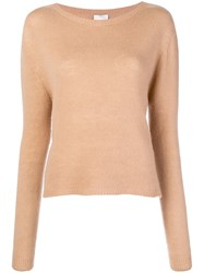 Alysi Ribbed Jewel Neck Sweater Nude And Neutrals