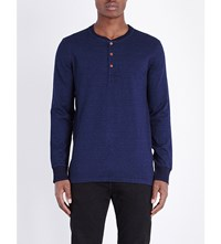 Levi's Bryant Cotton Jersey Henley Top Saturated Indiigo