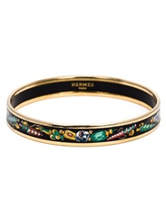Hermes Vintage Perfume Bottle Enamel Bangle Black