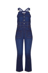 Frame Denim Cropped Jumpsuit Blue
