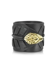Roberto Cavalli Serpent Black Leather And Gold Tone Metal Bracelet