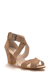 Shoes Of Prey Women's Block Heel Sandal Tan Suede
