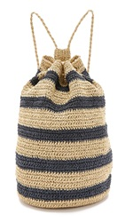 Bop Basics Rafia Striped Sling Backpack Navy Natural