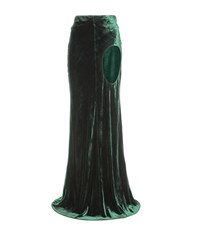 Haider Ackermann Cut Out Velvet Maxi Skirt Green