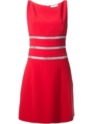 Azzaro Sleeveless Crystal Embellished Dress Red
