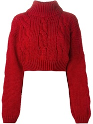 Vivienne Westwood Anglomania Cropped Cable Knit Sweater Red