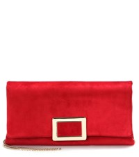 Roger Vivier Ines Small Suede Clutch Red