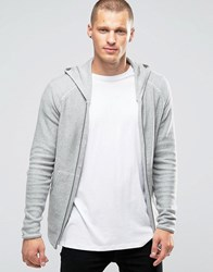 Jack And Jones Hooded Zip Through Cardigan Grey